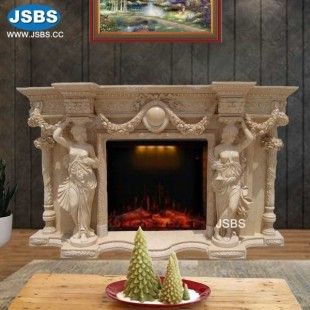 Stone Carved Marble Fireplace Mantel