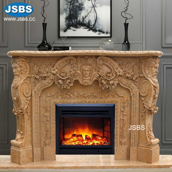 Nice Fireplaces: Indoor Nice Flower Fireplace Surround, Marble Fireplace