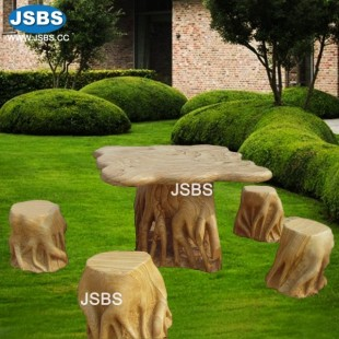 Table With Bench Or Seat - Stone picnic table set